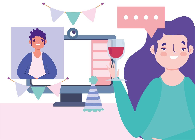 fête en ligne et célébration entre amis vecteur