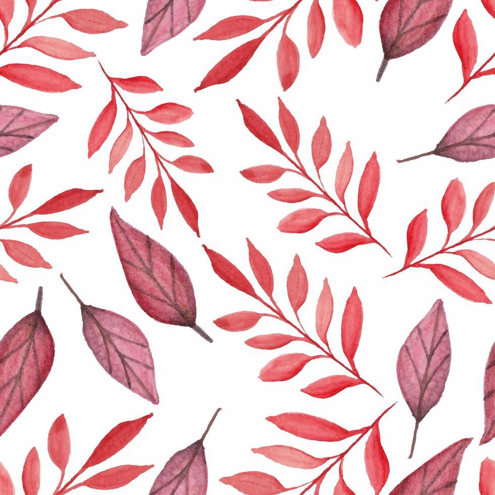 modèle sans couture aquarelle de belles feuilles rouges vecteur