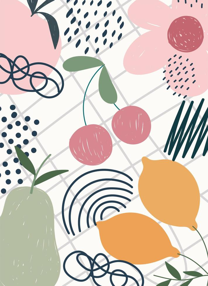 dessin à la main de fruits et de fleurs contemporain vecteur