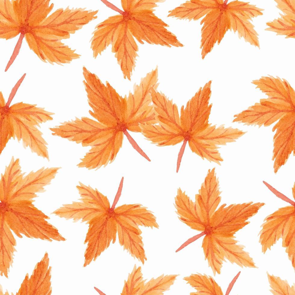 modèle sans couture de feuilles d'érable aquarelle vecteur