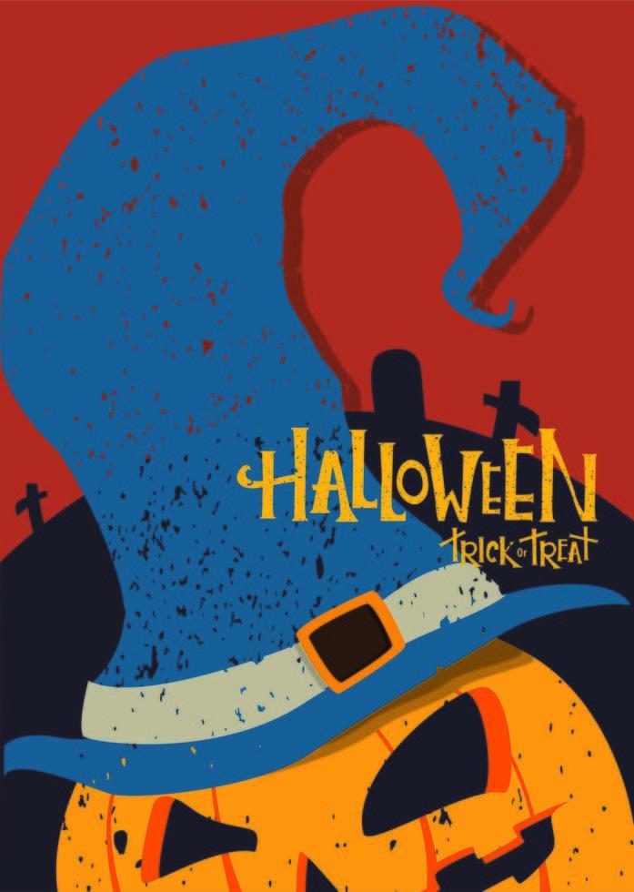 affiche dhalloween avec citrouille portant un chapeau de sorcière vecteur