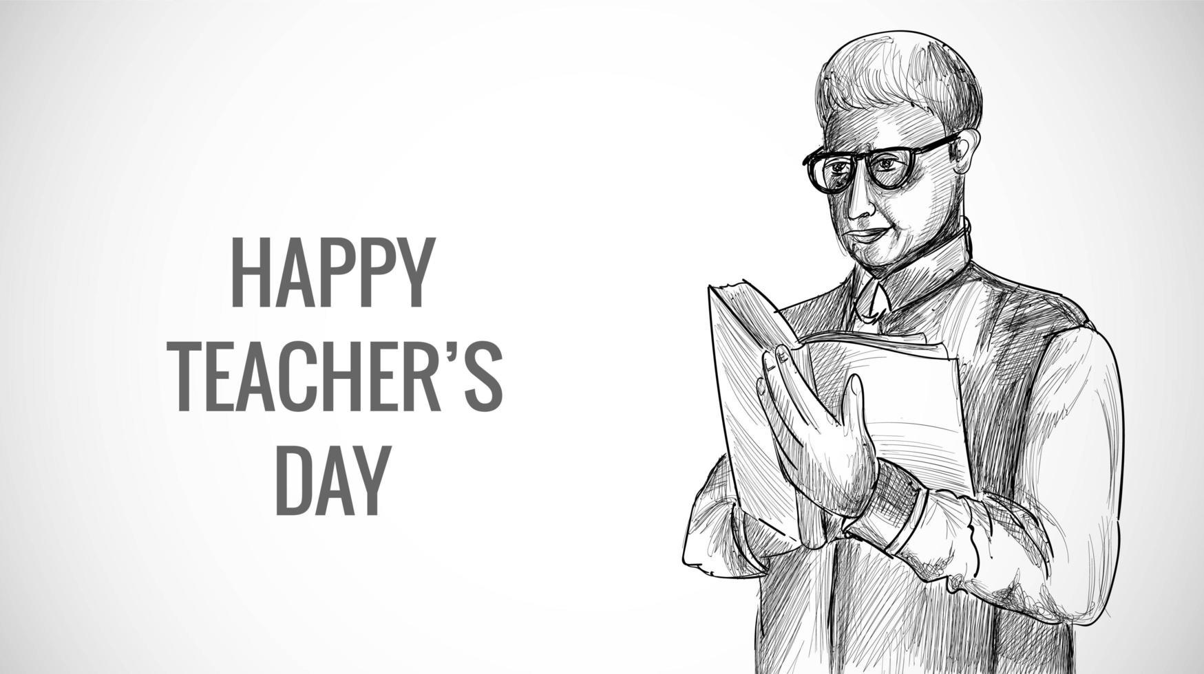 professeur de sexe masculin croquis dessiné à la main avec fond de jour des enseignants vecteur