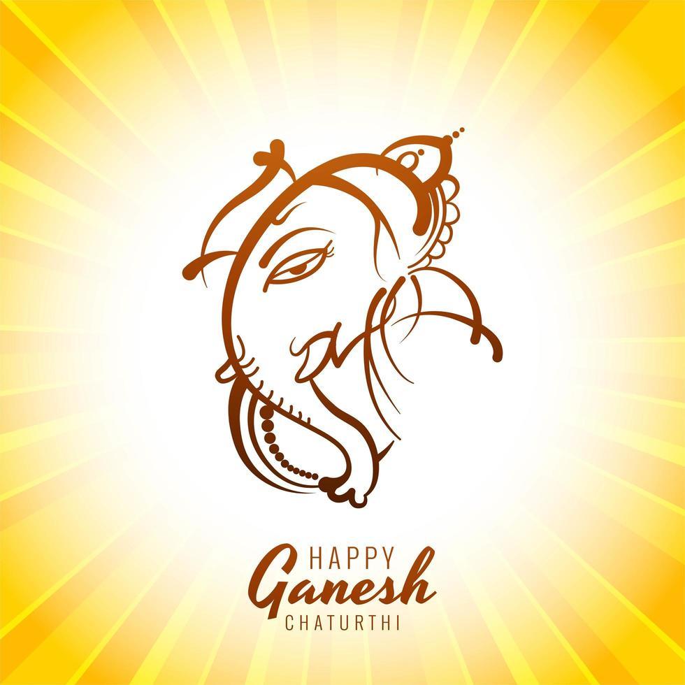 Carte joyeux ganesh chaturthi avec ligne seigneur ganesha sur sunburst jaune vecteur