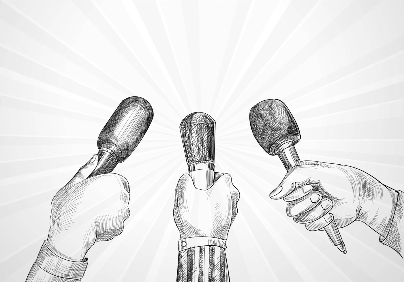 conférence avec des mains de journaliste tenant croquis de microphones vecteur