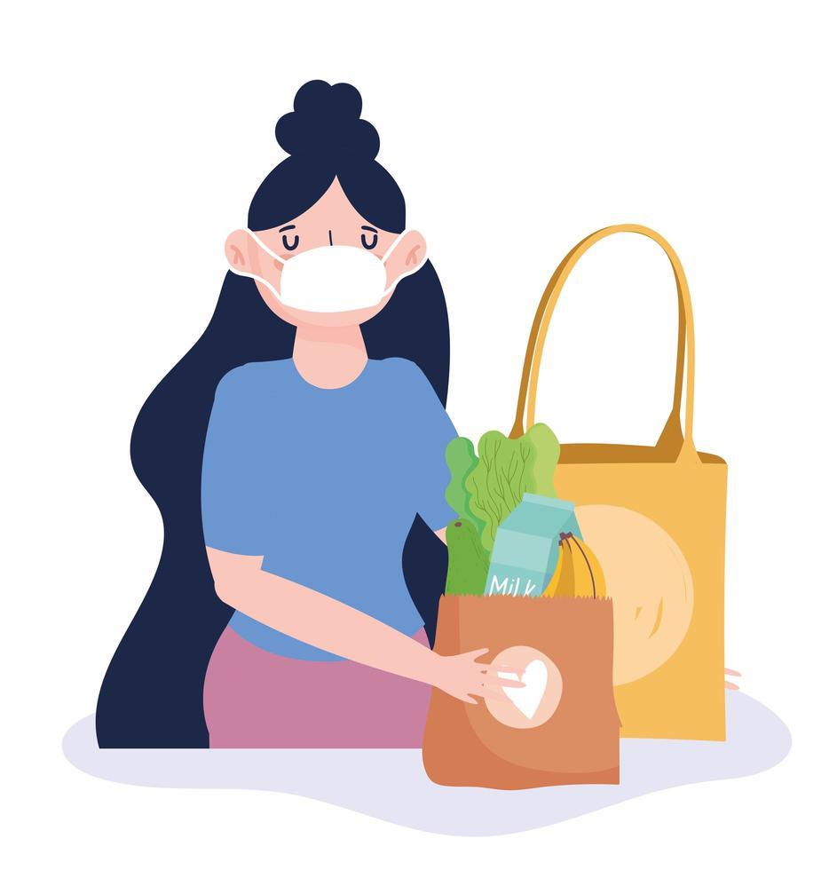femme portant un masque facial avec un sac d'épicerie vecteur
