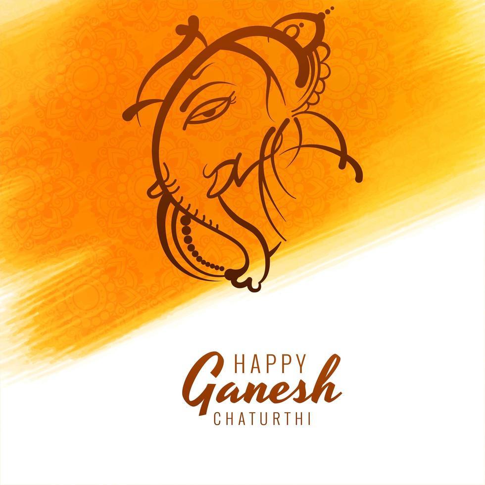 ligne ganesh chaturthi carte festival coup de pinceau jaune vecteur