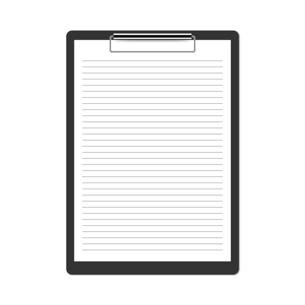 presse-papiers noir réaliste isolé sur fond blanc vecteur