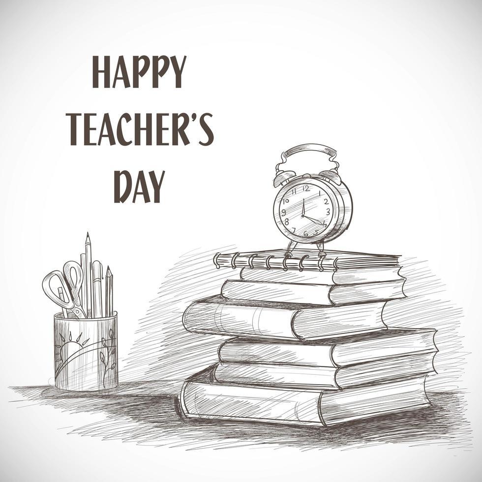 croquis dessiné à la main composition de la journée des enseignants heureux vecteur