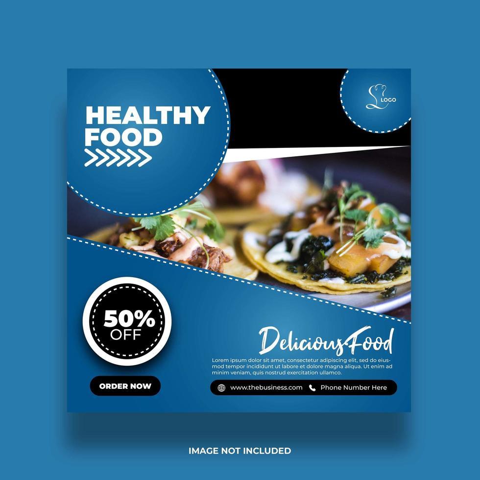 bannière de nourriture minimale créative pour publication de restaurant sur les médias sociaux vecteur