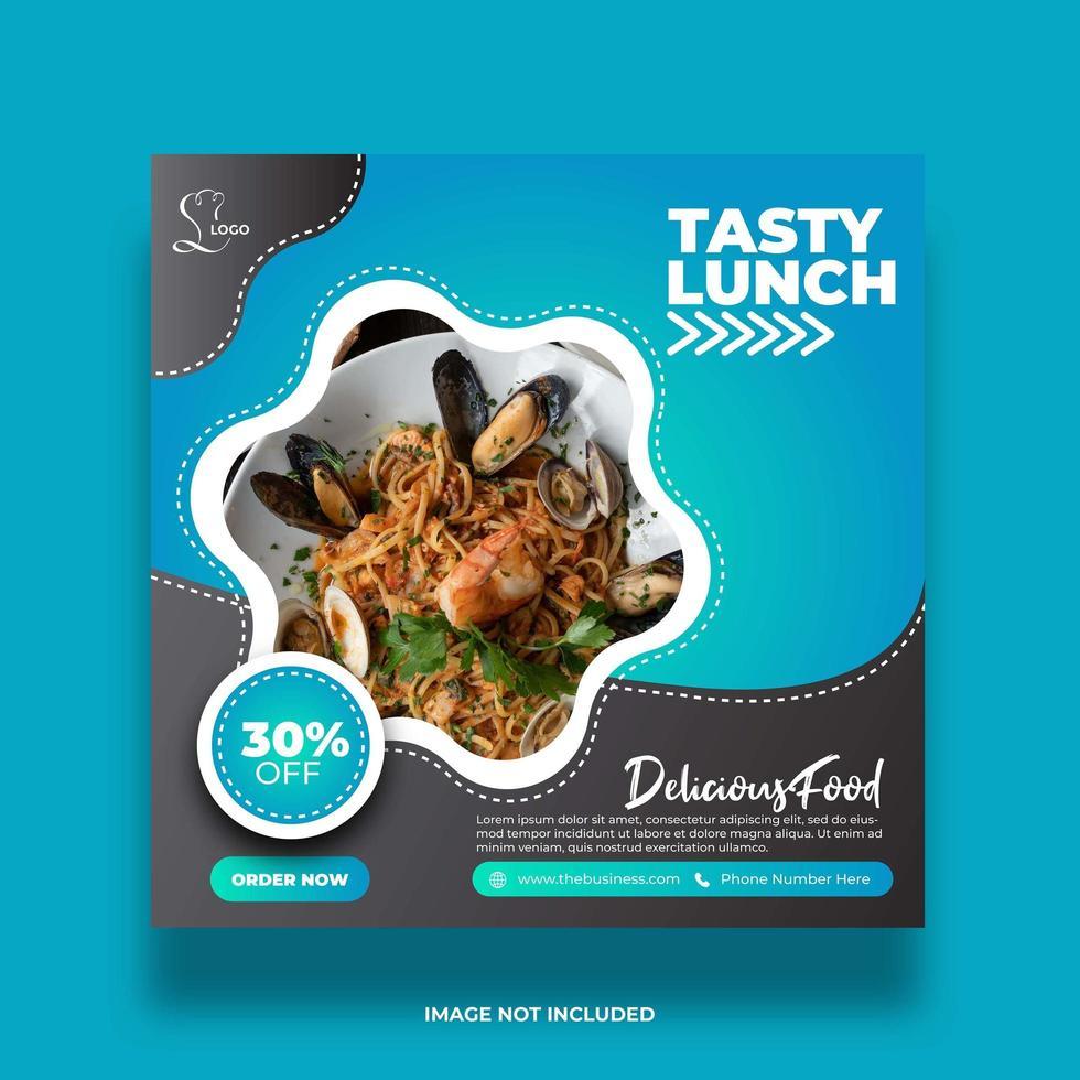 restaurant nourriture savoureux déjeuner bannière de médias sociaux pour la publication vecteur