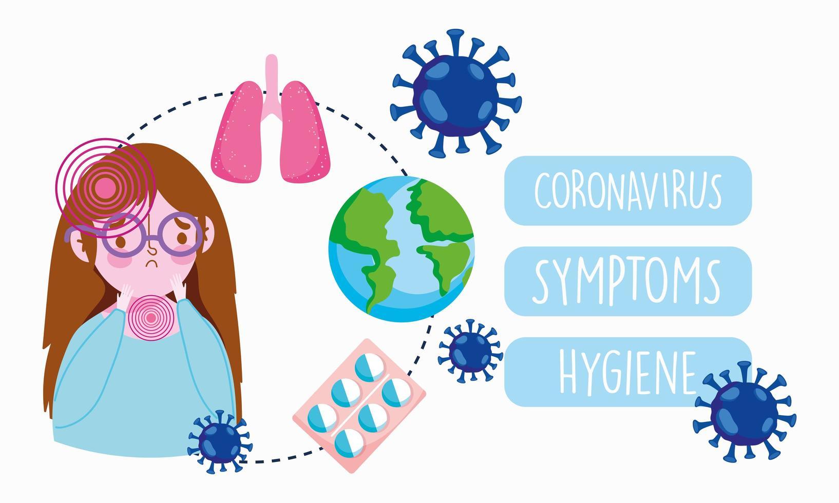 infographie de coronavirus avec une fille présentant des symptômes vecteur