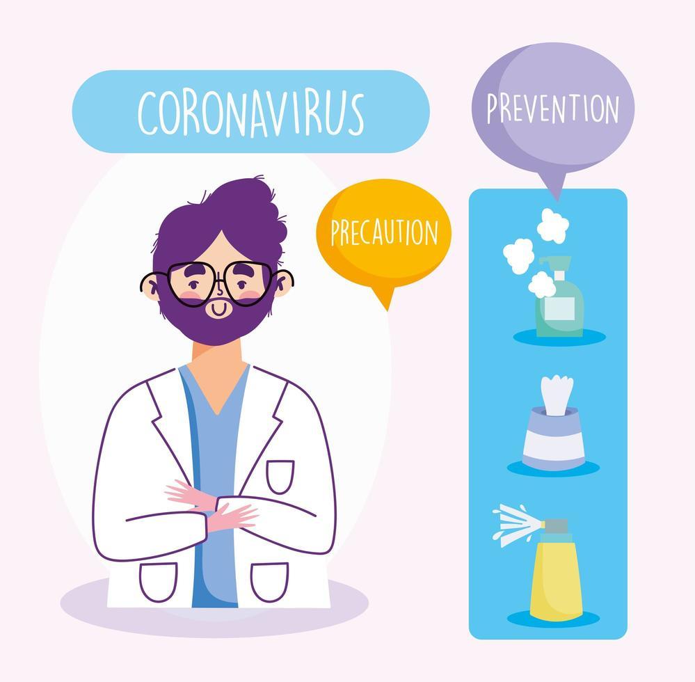 infographie de prévention des coronavirus avec un médecin vecteur