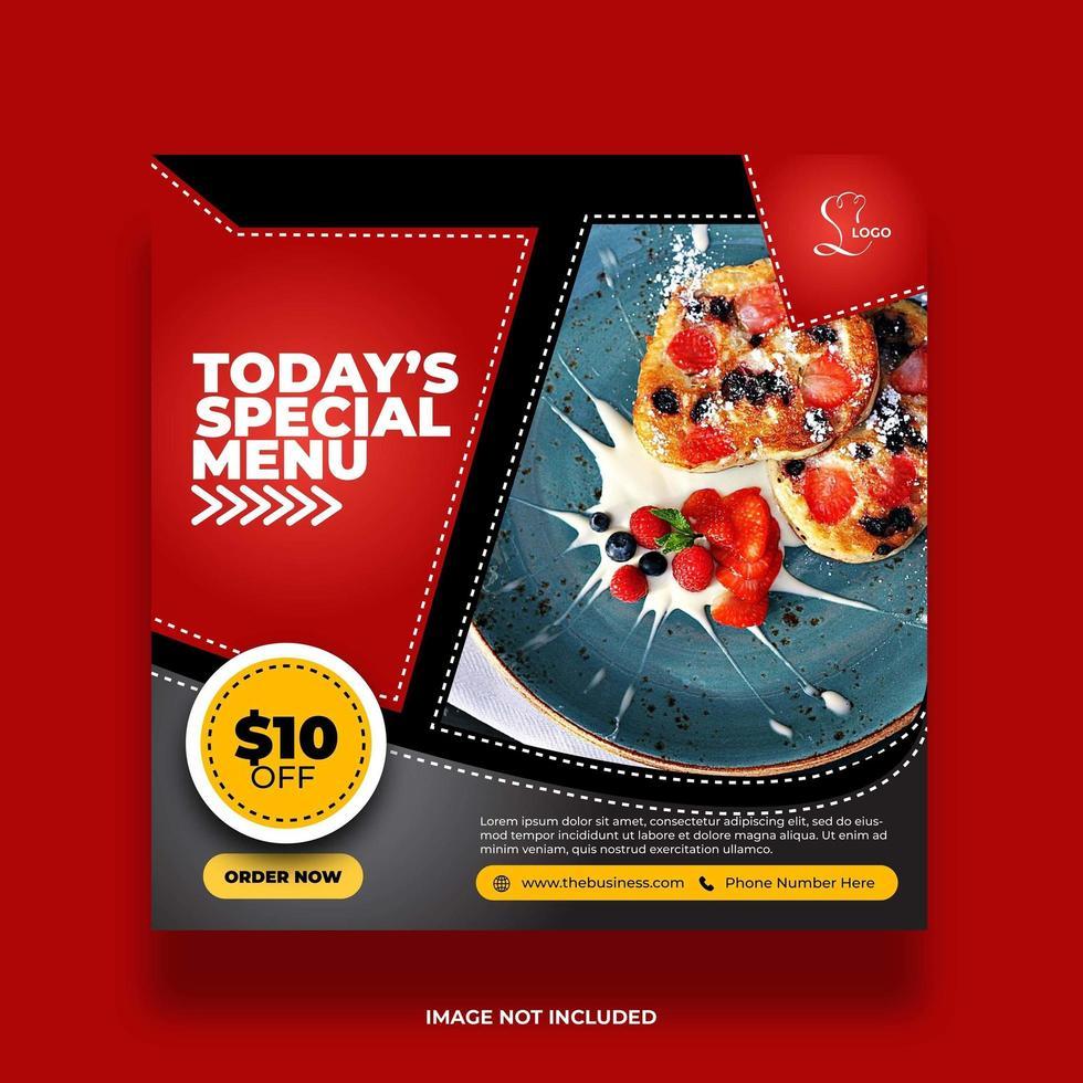bannière de nourriture minimale colorée pour la promotion des médias sociaux vecteur