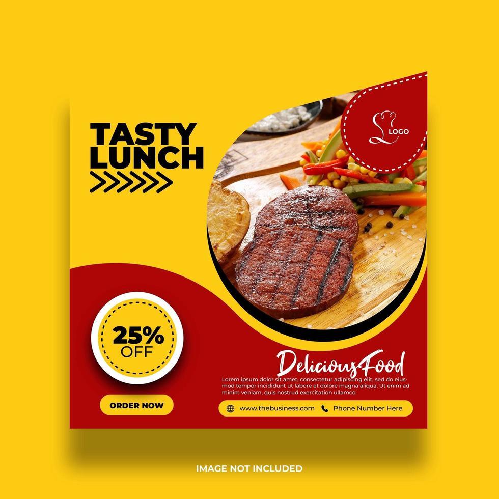 bannière de nourriture de restaurant jaune minimal coloré pour les médias sociaux vecteur