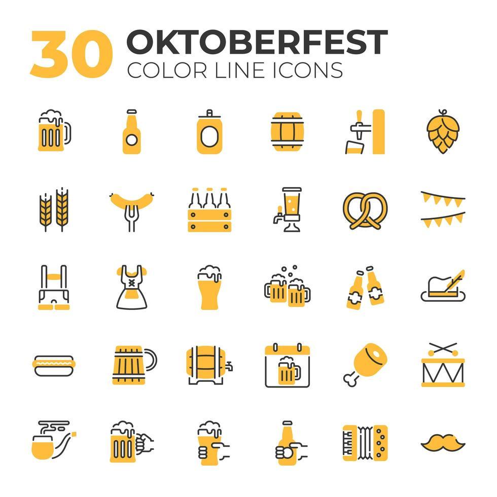 ensemble d'icônes liées à l'oktoberfest vecteur