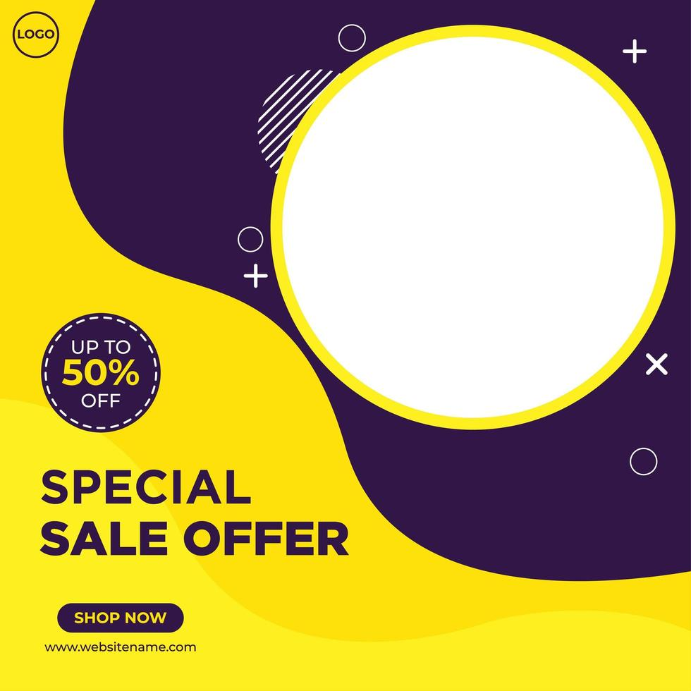 modèle de médias sociaux de vente de mode violet et jaune vecteur