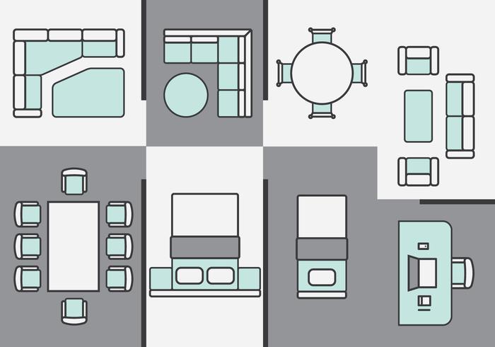 Plans d'architecture Icônes de meubles vecteur