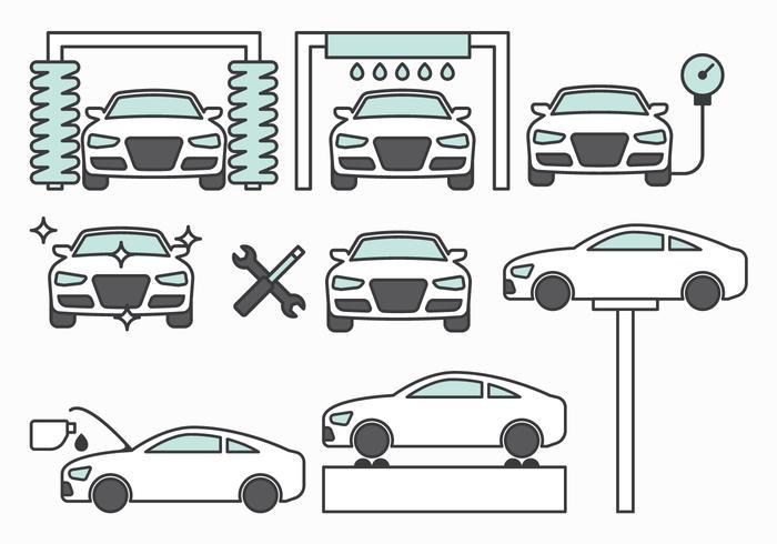 Icônes de maintenance automobile vecteur