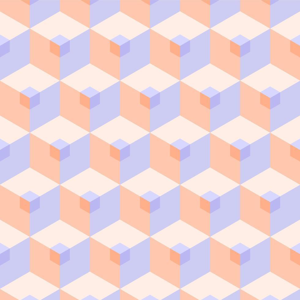 modèle de cube pastel 3d sans soudure vecteur