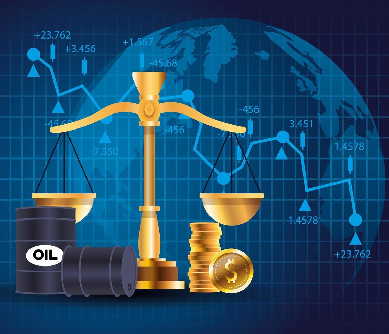 marché des prix du pétrole avec barils et équilibre vecteur