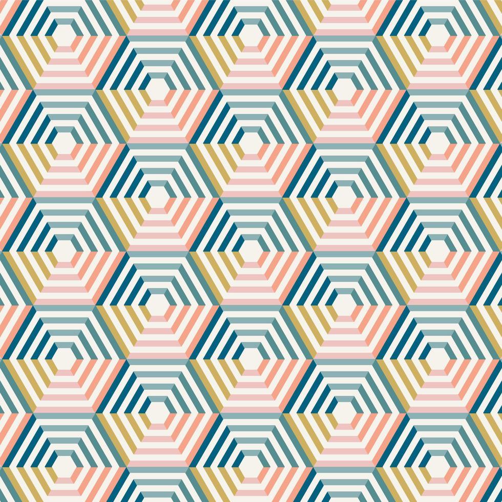 motif hexagonal rayé coloré abstrait vecteur
