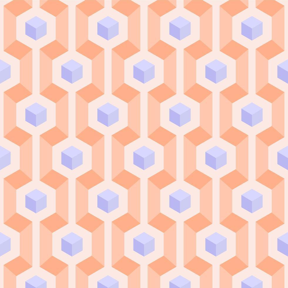 modèle sans couture de cubes pasel 3d géométrique vecteur