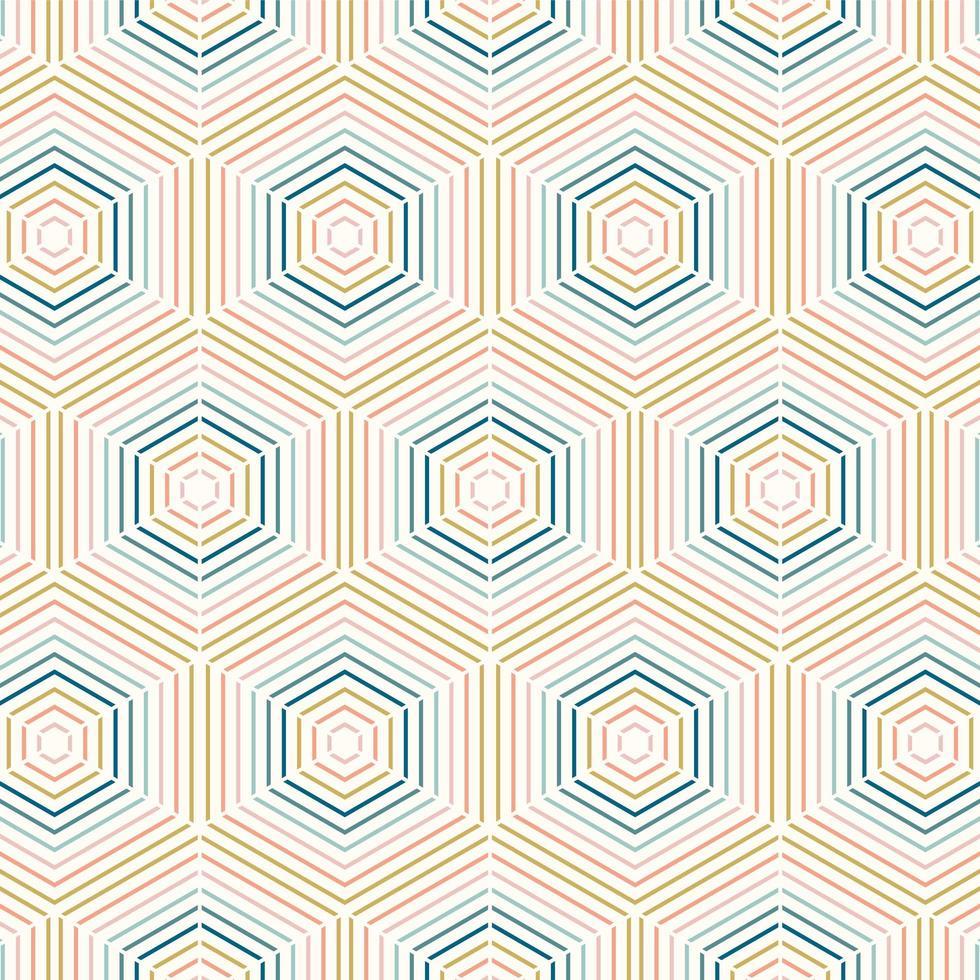 modèle sans couture hexagone ligne colorée géométrique vecteur
