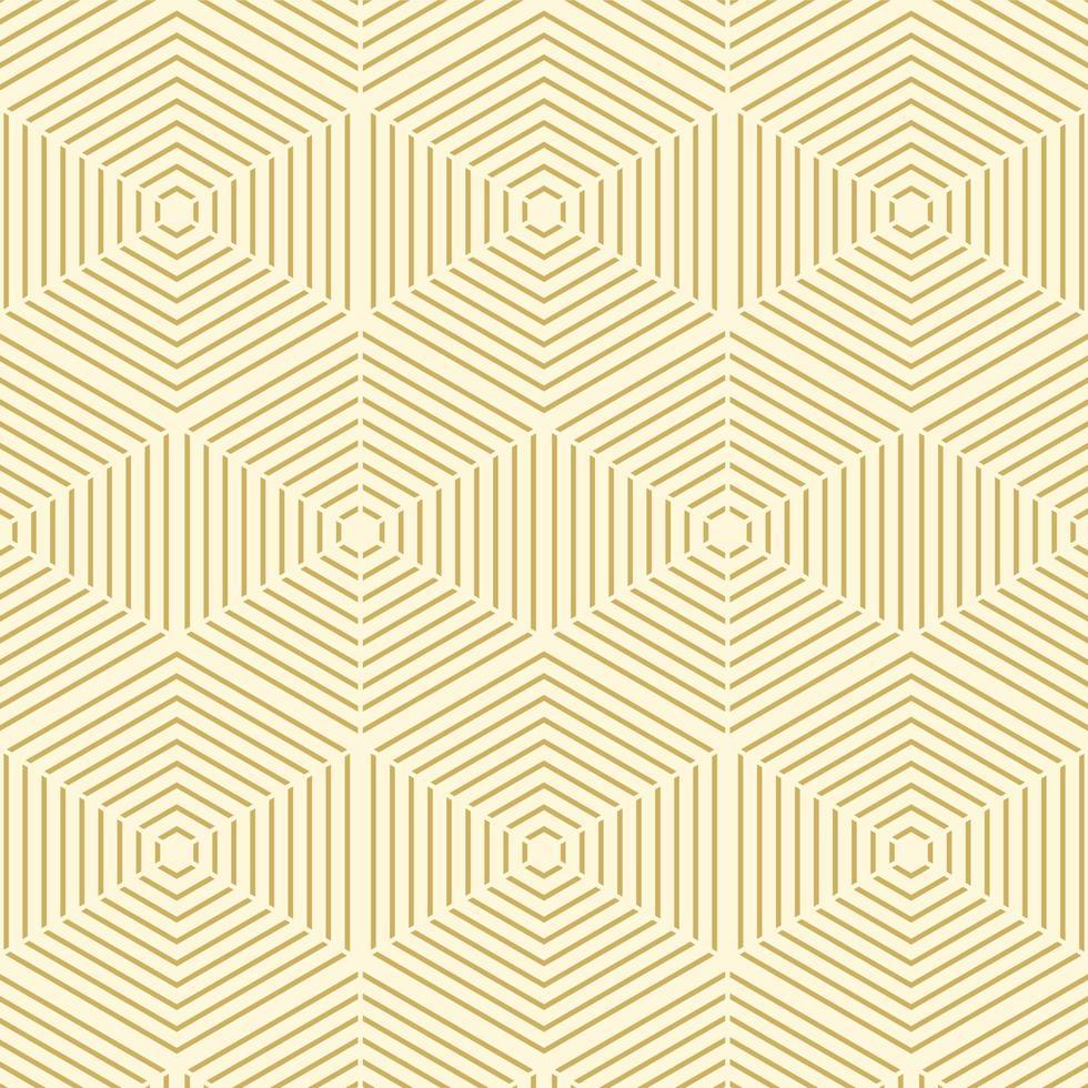 modèle sans couture hexagone ligne or géométrique vecteur