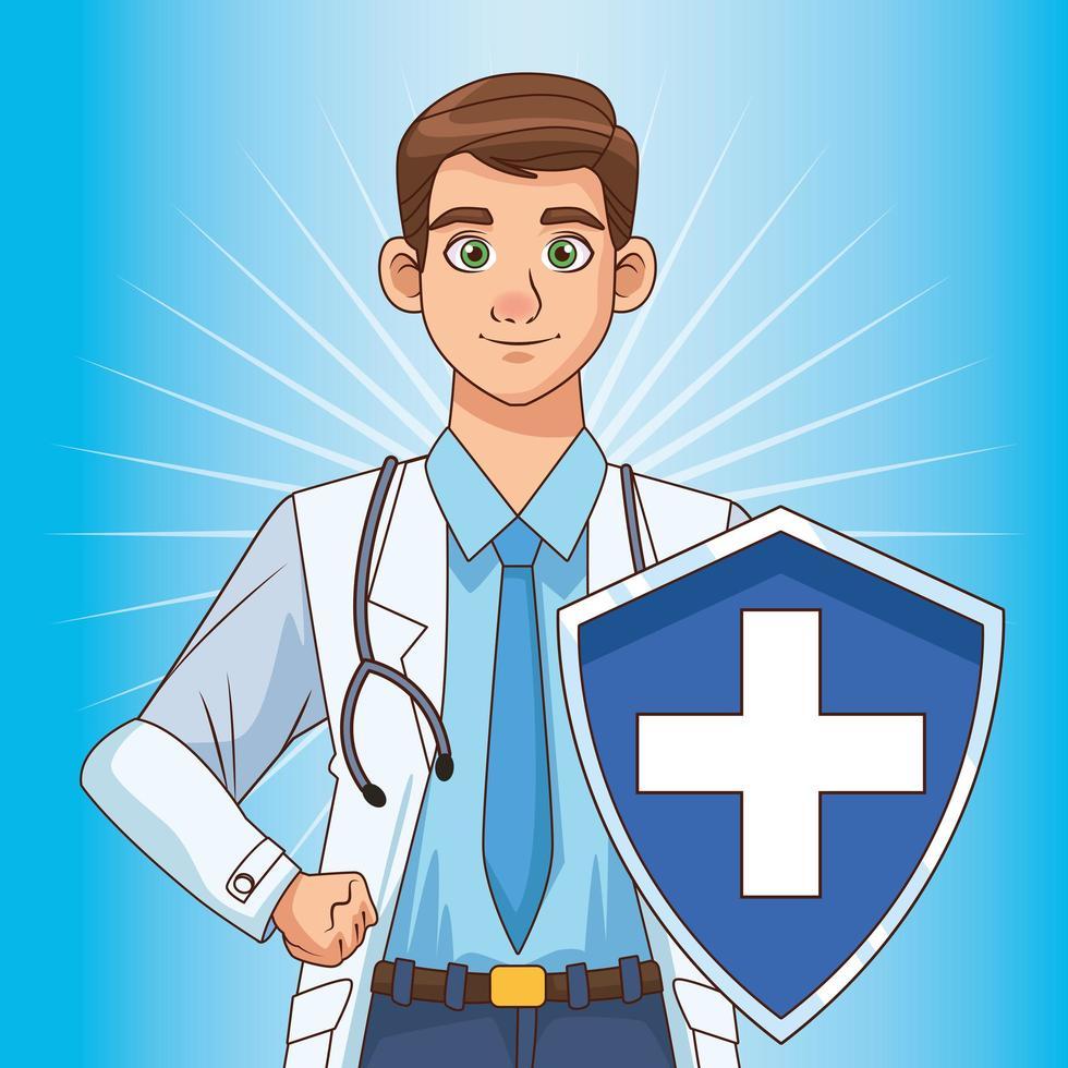 médecin avec bouclier vecteur