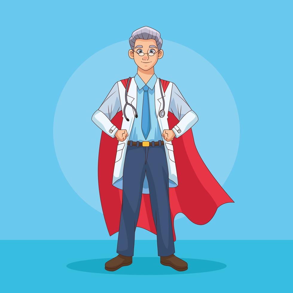 super docteur avec cape de héros vecteur