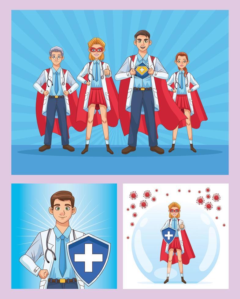 personnel de super médecins avec capes de héros et bouclier vecteur