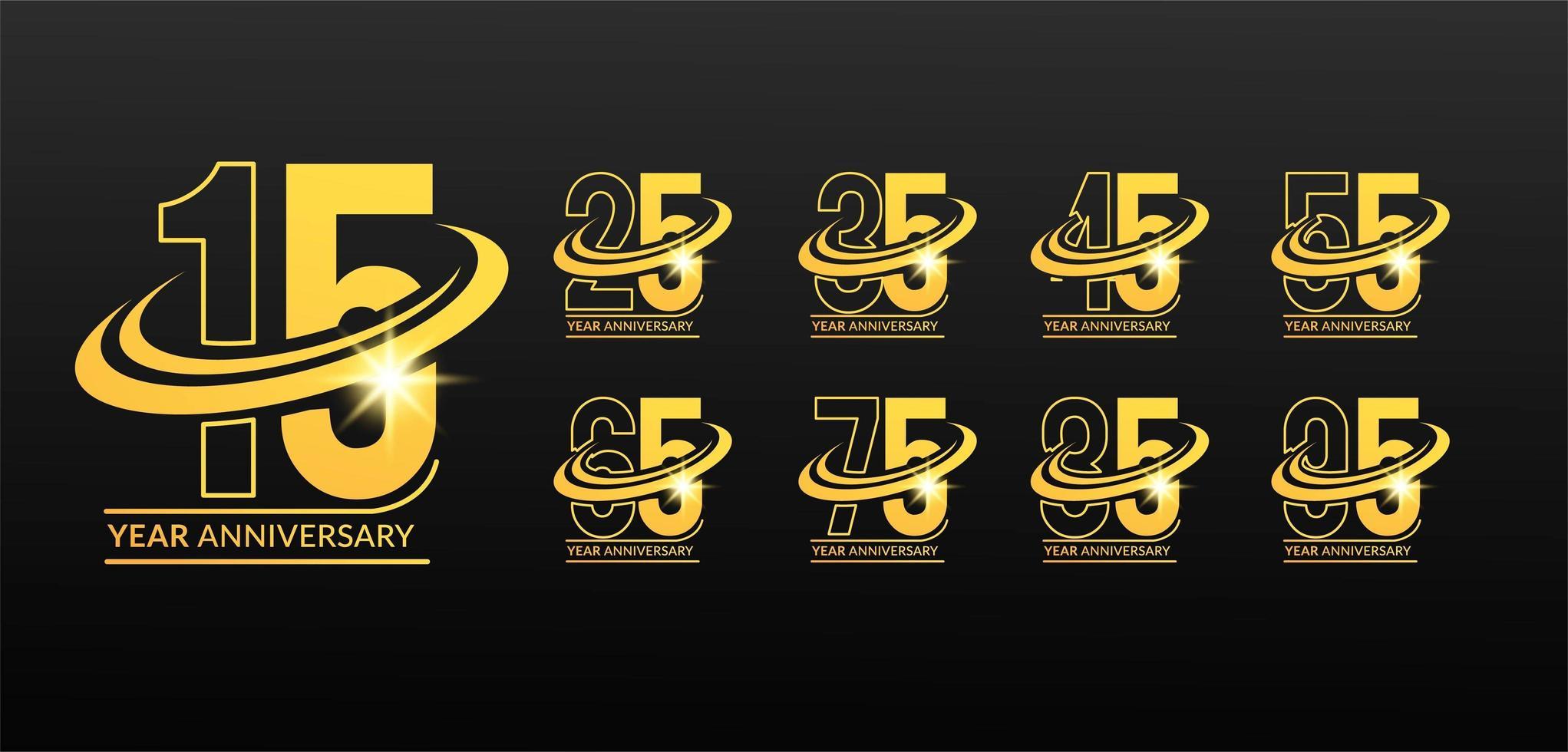 numéros d'anniversaire en or dynamiques avec symbole swoosh vecteur