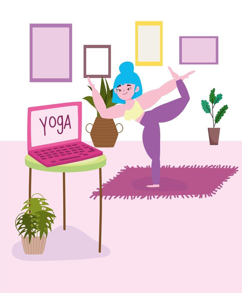 femme, faire, yoga, chez soi vecteur