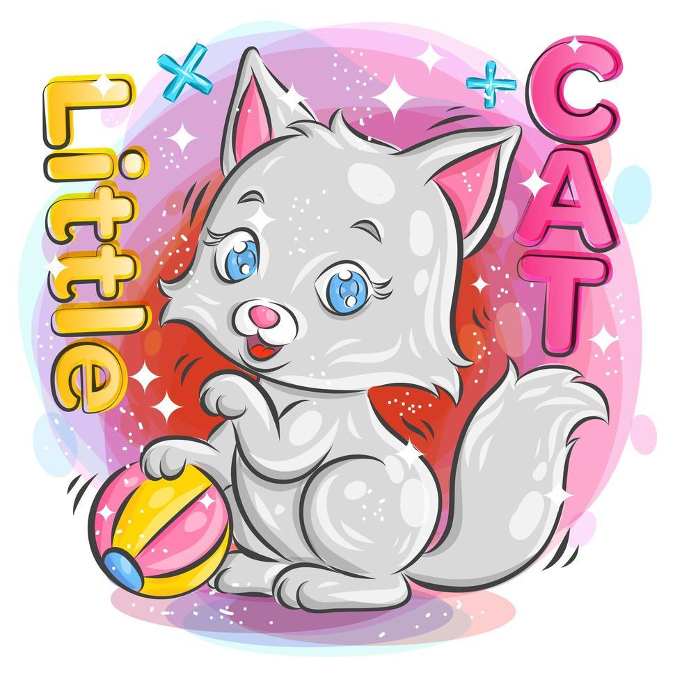 mignon petit chat jouant avec un ballon coloré vecteur