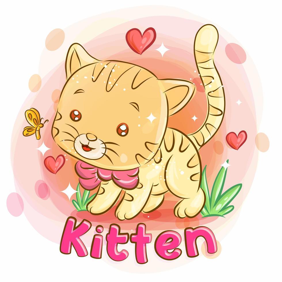 mignon chaton jouant dans le jardin et ressentir l'amour vecteur