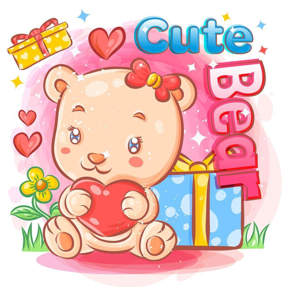 mignon ours femelle amoureux tenant des cadeaux de saint valentin vecteur
