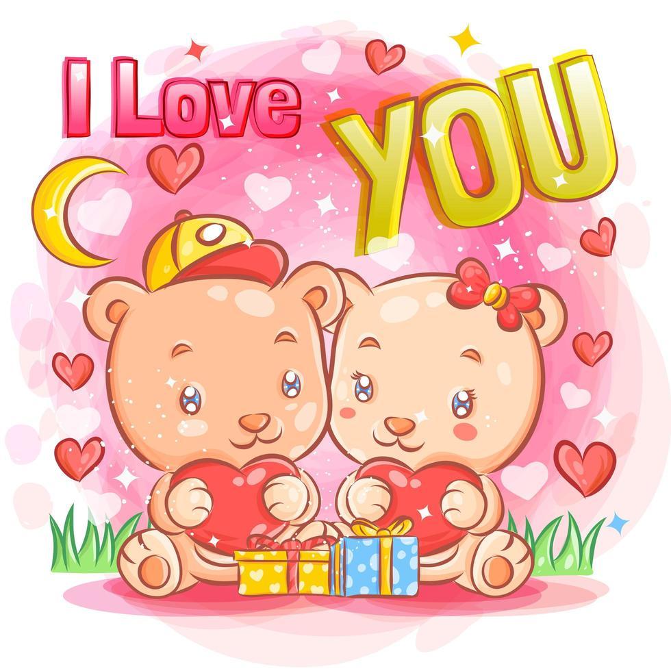 joli couple d'ours se sentant amoureux le jour de la saint-valentin vecteur