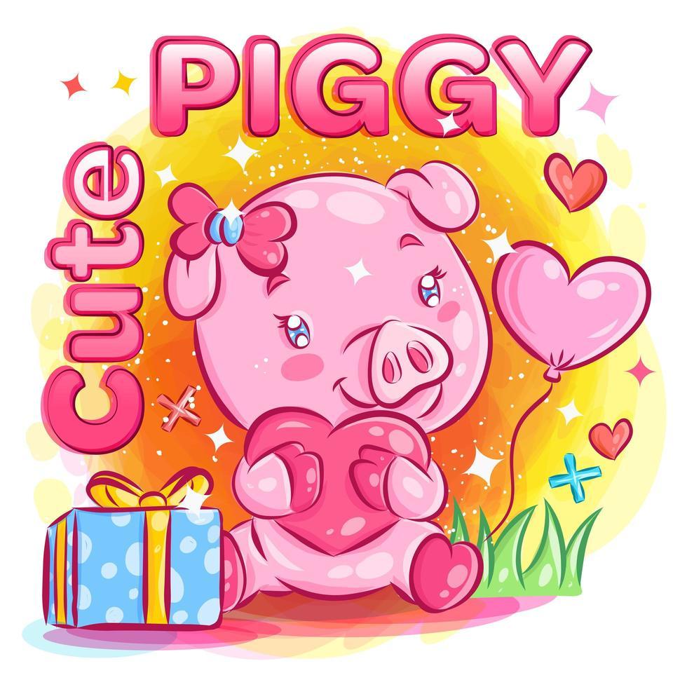 mignon cochon mâle se sentant amoureux du cadeau de la Saint-Valentin vecteur