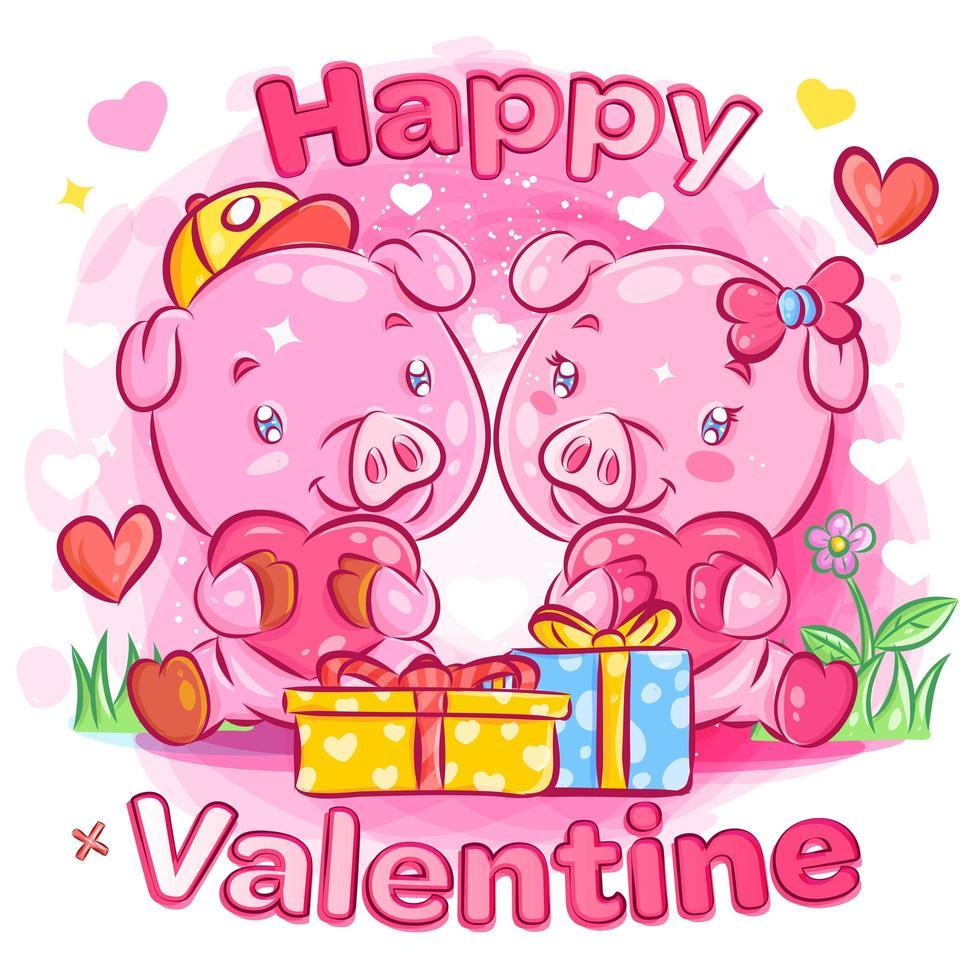 couple de cochons se sentant amoureux des cadeaux de la saint-valentin vecteur