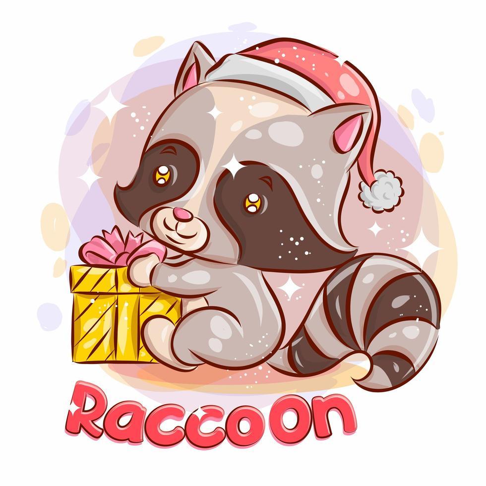 raton laveur mignon avec un cadeau de Noël. vecteur