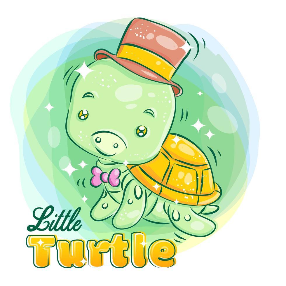 jolie petite tortue porte un chapeau et souriant vecteur