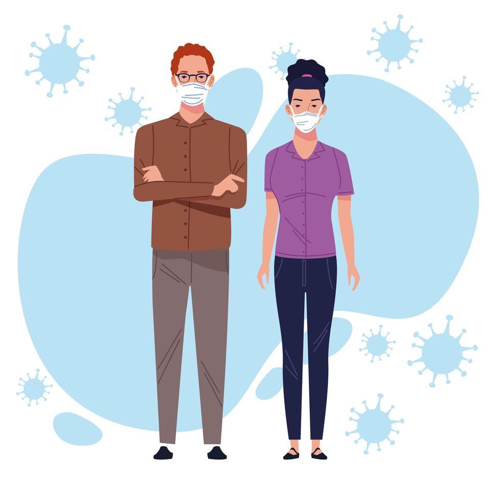 un couple utilisant un masque de protection pour le coronavirus vecteur