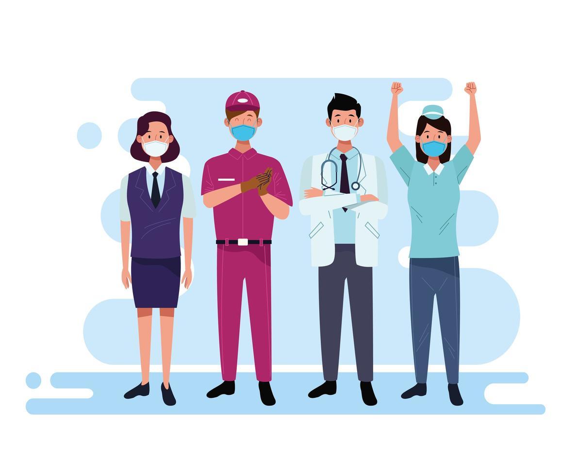 groupe de travailleurs et de personnel utilisant des masques faciaux vecteur