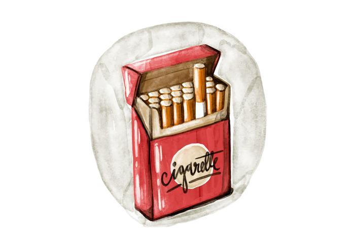 Free Water Cigarette Pack Watercolor Vector