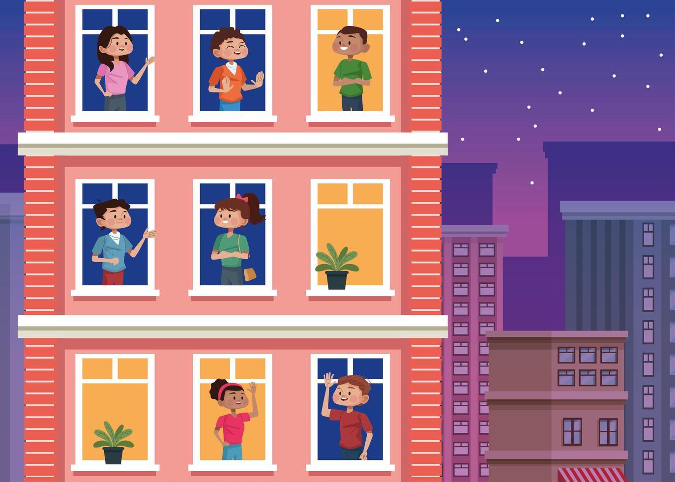 les jeunes restent à la maison dans les fenêtres des bâtiments vecteur
