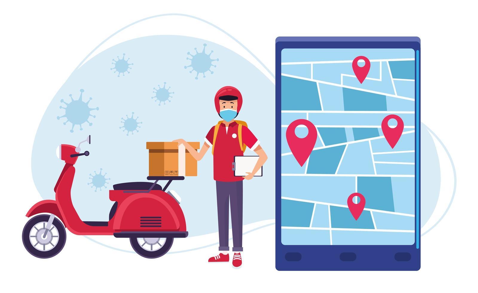 service de messagerie en ligne de livraison de motos avec coronavirus vecteur