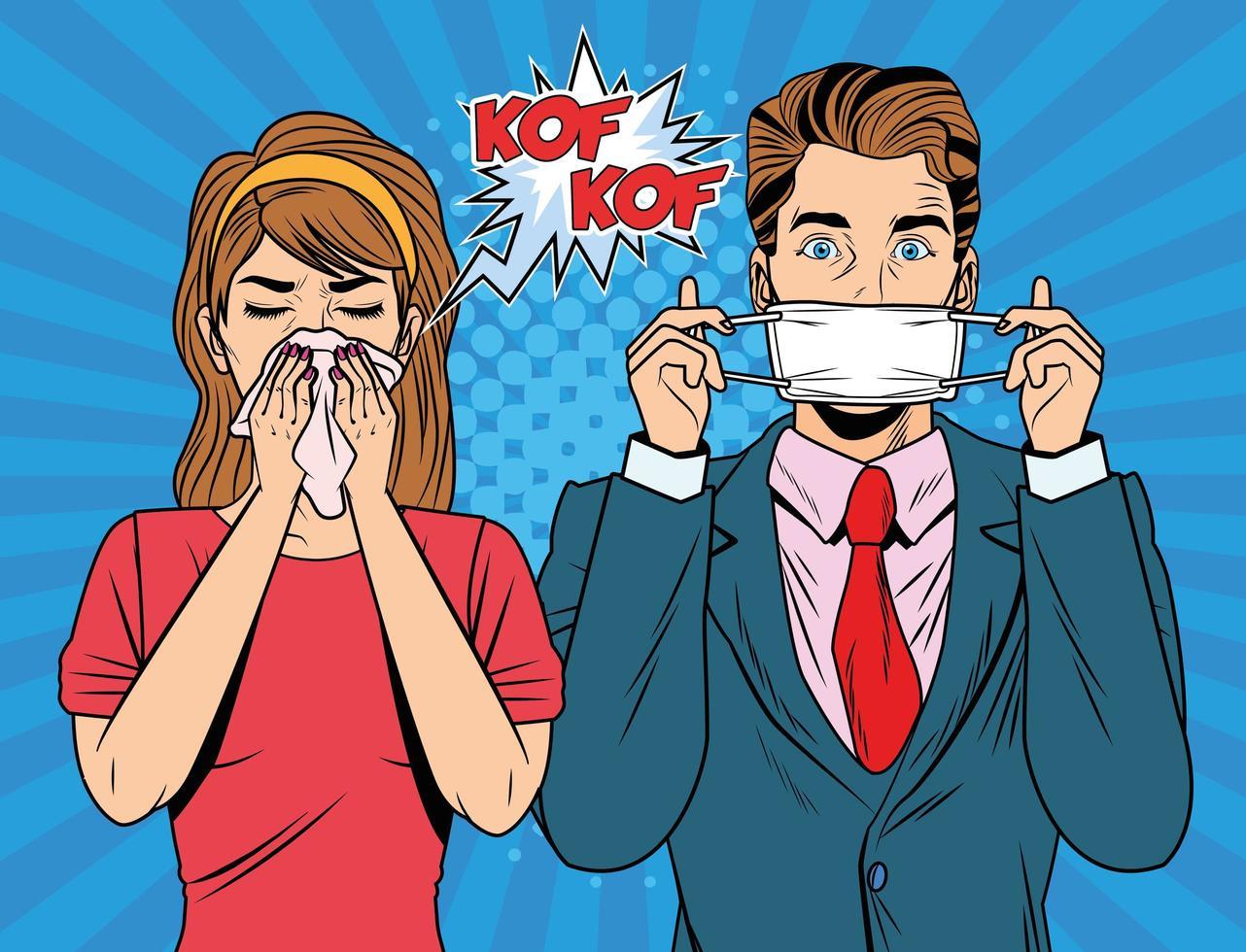 homme utilisant un masque facial et une femme malade vecteur