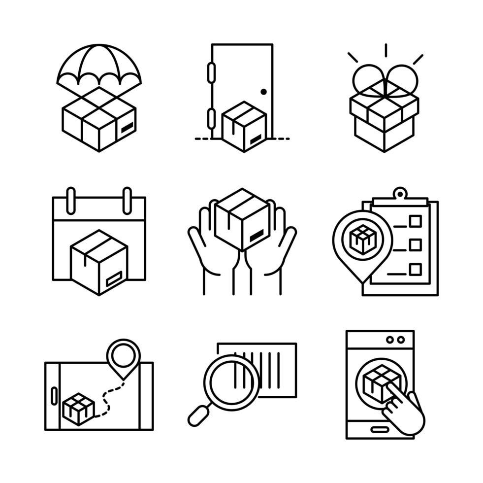 collection d'icônes de livraison et de logistique vecteur
