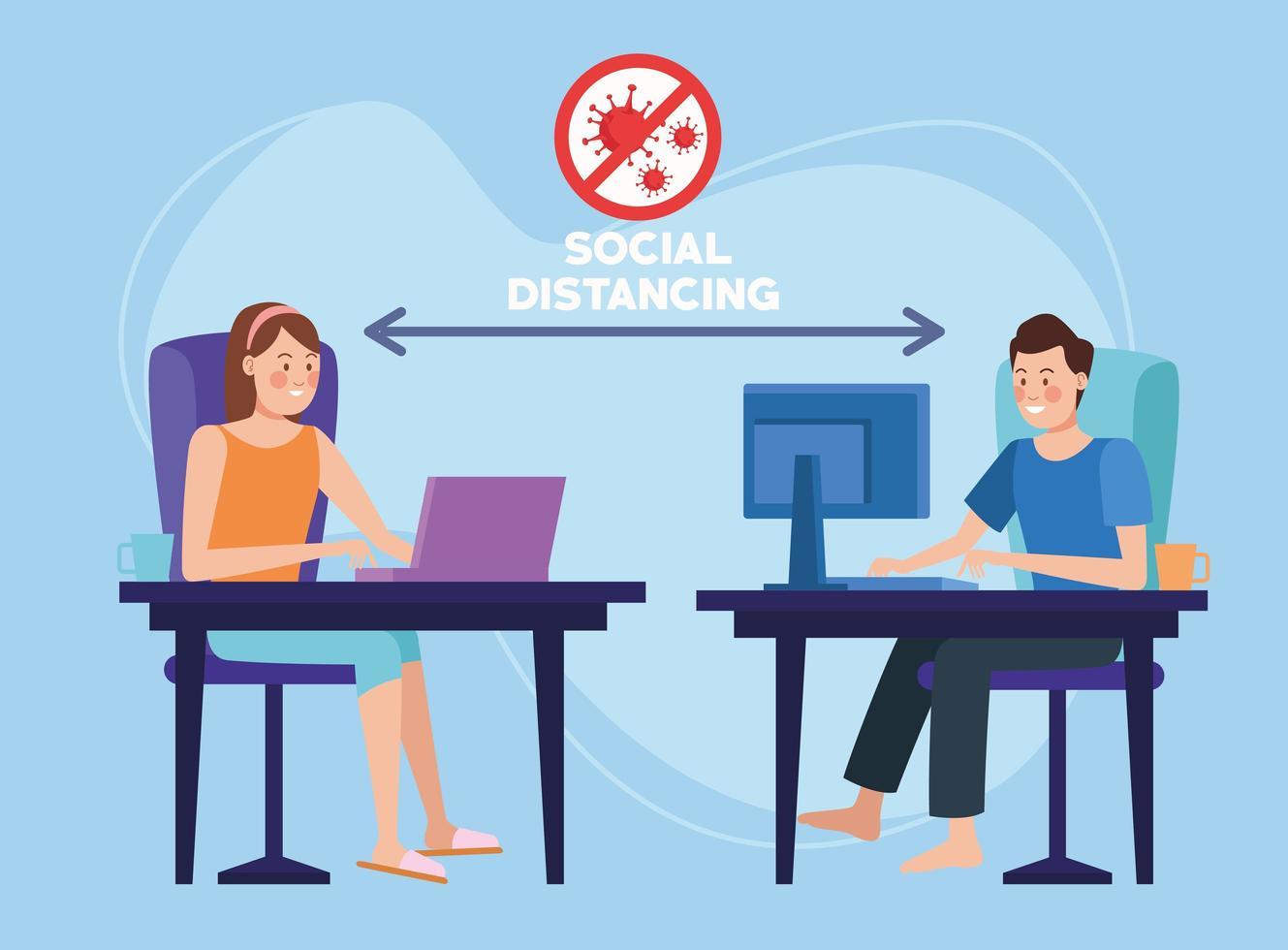 couple travaillant à domicile avec distanciation sociale vecteur