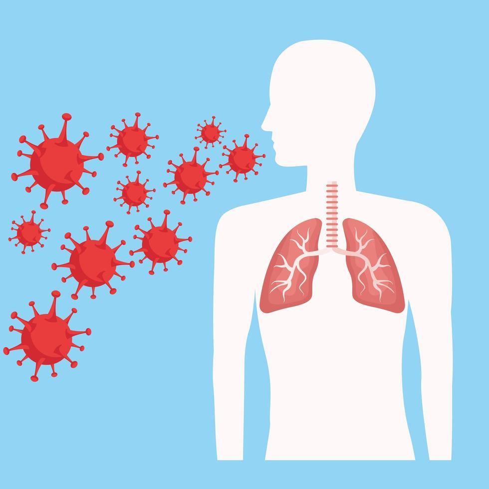 silhouette humaine avec poumons et covid 19 vecteur